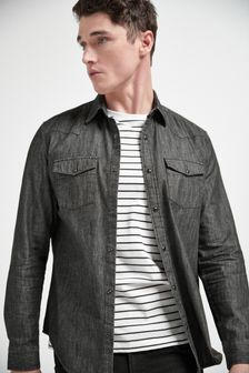 Grey Regular Fit Denim Western Shirt