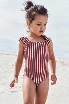 Rust Textured Stripe Swimsuit (3mths-7yrs)
