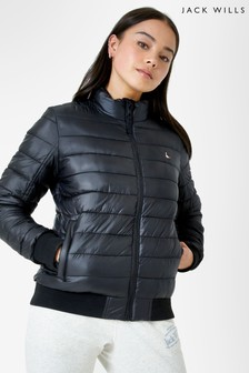 Jack Wills Black Luna Everyday Puffer Lightweight Jacket