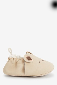 Tan Bear Pram Slip-Ons (0-18mths)