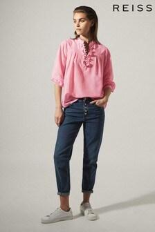 Reiss Pink Ashlyn Ruffle Detail Silk Blend Shirt