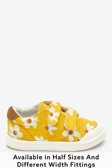 Ochre Daisy Wide Fit (G) Canvas Bumper Toe Trainers (Younger)