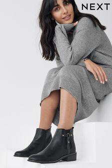 Black Regular/Wide Fit Forever Comfort Stud Chelsea Boots