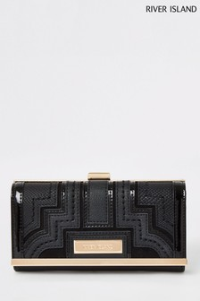 River Island Black Panelled Clip Top Bag