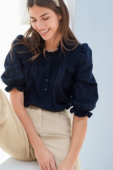 Navy Puff Sleeve Smock Cotton Poplin Top