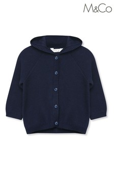 M&Co Blue Knitted Hood Cardigan
