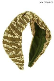 Accessorize Green Khaki Zebra Embellished Aliceband