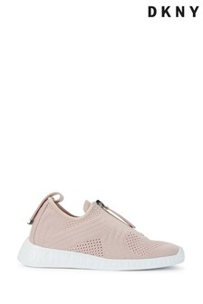 DKNY Off White Slip-On Knitted Melissa Trainers