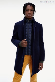 Tommy Hilfiger Blue Stand Up Collar Padded Coat