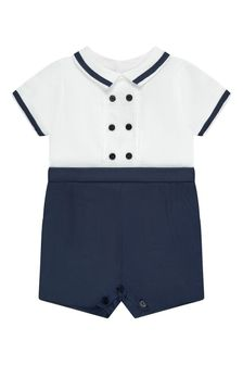 Patachou Baby Boys Navy Cotton Romper