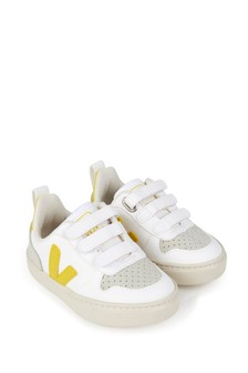 Veja Kids White Leather Lace-Up Trainers