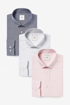 Navy/Pink Print And Texture Slim Fit Single Cuff Shirts Three Pack