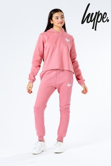 Hype. Pink Cropped Kids Hoodie and Joggers Set