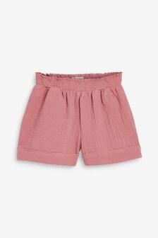 Pink Textured Cotton Shorts