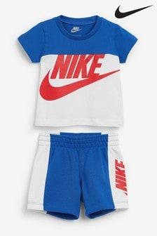 Nike Infant Blue Colourblock T-Shirt And Shorts Set