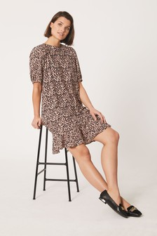 Blush Animal Print Frill Hem Dress