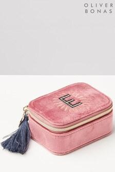 Oliver Bonas Sol Pink Velvet Alphabet E Travel Jewellery Box