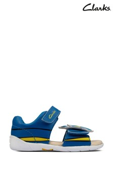 Clarks Blue Leather Zora Nemo T Sandals