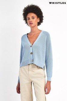 Whistles Pale Blue May Button Cardigan