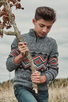 Grey Fairisle Pattern Zip Neck Jumper (3-16yrs)