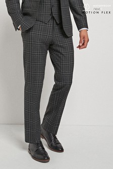 Black Tailored Fit Check Motionflex Suit: Trousers