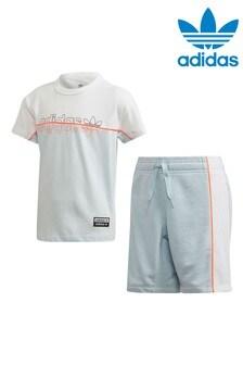 adidas Originals Little Kids Light Blue RYV T-Shirt And Short Set