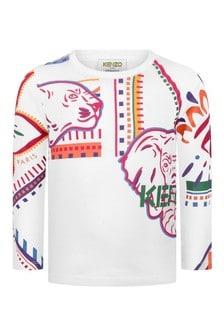 Girls White Jersey Cotton Long Sleeve T-Shirt