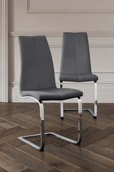Faux Leather French Dark Grey Set of 2 Opus Cantilever Dining Chairs with Chrome Legs