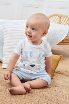 Blue Tiger Appliqué T-Shirt And Shorts Set (0mths-3yrs)