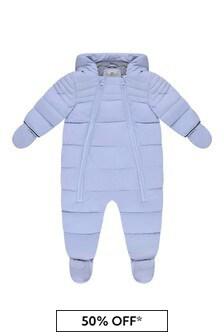 Baby Boys Pale Blue Polar Lined Snowsuit