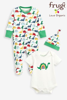 Frugi White Dinosaurs Organic Cotton 4 Piece Gift Set