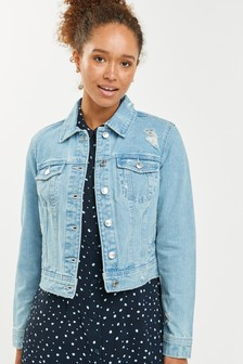Mid Blue Ripped Authentic Denim Jacket