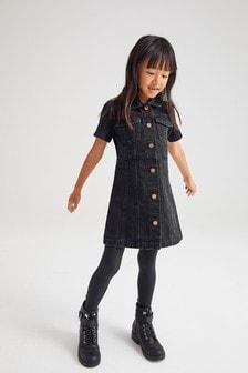 Black Fitted Denim Dress (3-16yrs)