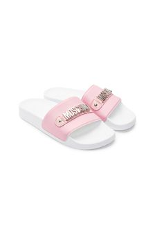 Girls Pink Leather Sliders