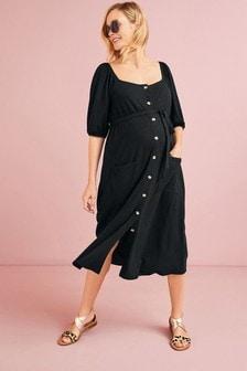 Black Maternity/Nursing Button Through Midi Dress