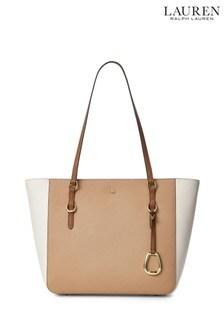 Lauren Ralph Lauren Nude Stripe Leather Shopper Bag