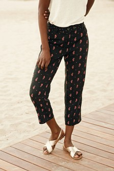 Black Print Linen Blend Crop Trousers