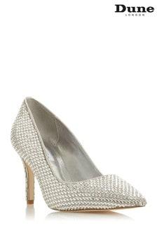 Dune London Blinding T Silver Jewel Embellished Stiletto Heel Court Shoes