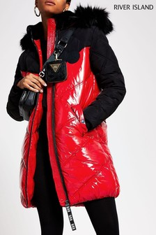 River Island Red Ll Chubby Padded Jacket