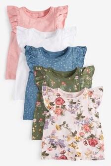Pink/Green Floral 5 Pack Vests (3mths-8yrs)