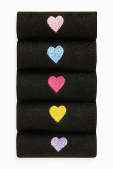 Heart Motif Ankle Socks Five Pack