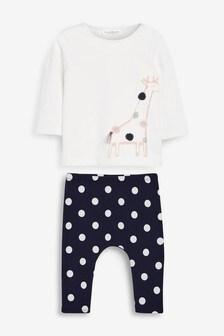 White/Navy Giraffe T-Shirt And Leggings Set (0mths-2yrs)