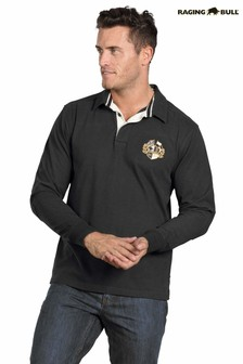 Raging Bull Black Long Sleeve Signature Rugby Shirt