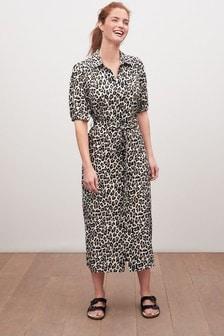 Animal Print Midi Shirt Dress