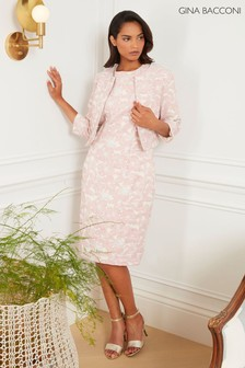 Gina Bacconi Pink Genesia Jacquard Sheath Dress And Bolero