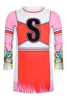 الفتيات العاج والوردي جيرسي فستان المشجع