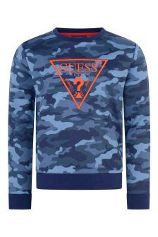 Boys Blue Camouflage Cotton Sweater