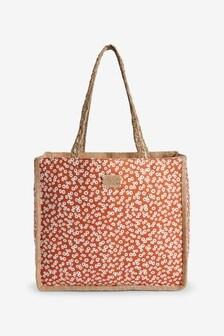 Coral Printed Reversible Hessian Shopper Bag