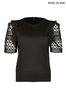 River Island Black Crochet Frill Sleeve Top