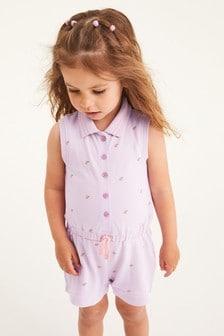 Lilac Organic Cotton Polo Playsuit (3mths-7yrs)